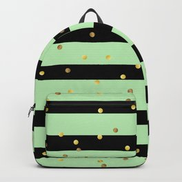 Christmas Golden confetti on Black and Mint Green Stripes Backpack