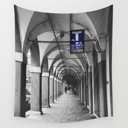 Blue Tabacchi Street Photography in Bologna Wall Tapestry