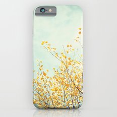 Yellow Tree Leaves Mint Sky Photography, Nature Turquoise Teal Gold Aqua iPhone 6s Slim Case