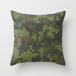 Green Pixel Woodland Camo pattern Throw Pillow