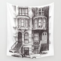 san francisco Wall Tapestries featuring San Francisco by Justine Lecouffe