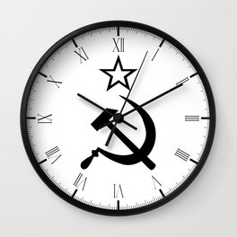 Hammer and Sickle Black and White Wall Clock