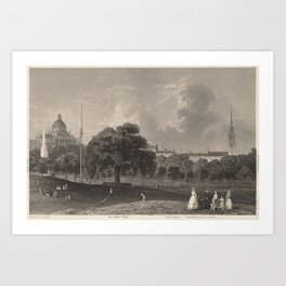 Vintage Illustration of the Boston Commons (1860) Art Print