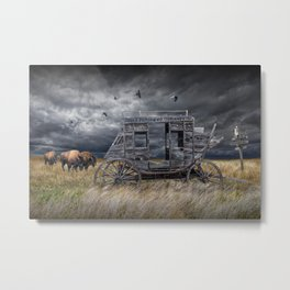 Abandoned Wells Fargo Stage Coach Metal Print