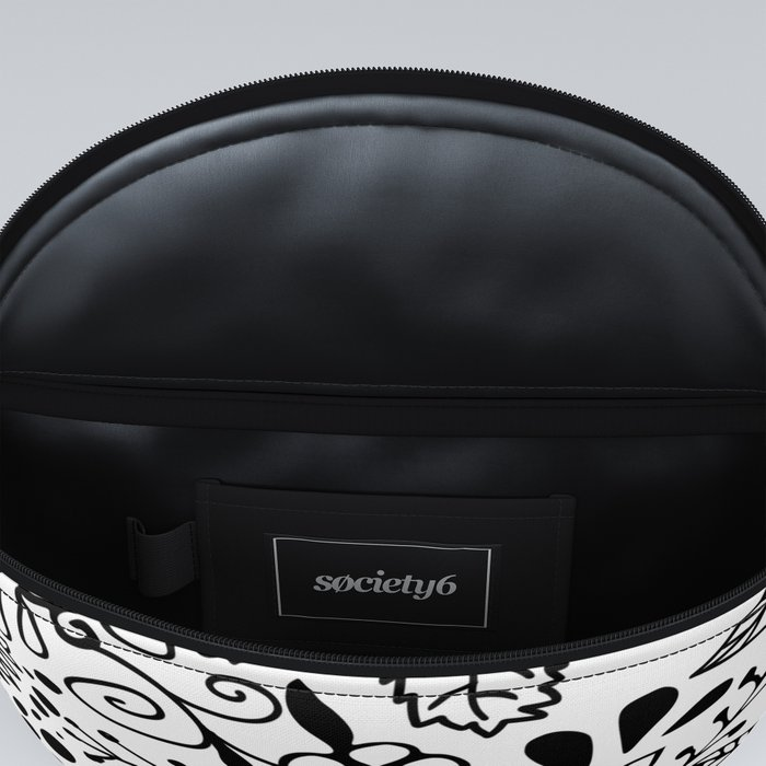 Black on White Florals Fanny Pack