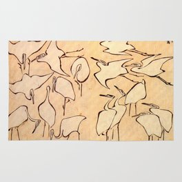 "Katsushika Hokusai ""Cranes from Quick Lessons in Simplified Drawing"" (1823)(original) Rug"
