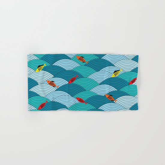 wave and fish Hand & Bath Towel