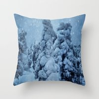finland Throw Pillows featuring Winter in Lapland, Finland by Guna Andersone & Mario Raats - G&M Studi