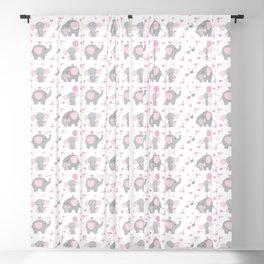 Pink Elephant Baby Girl Nursery Blackout Curtain