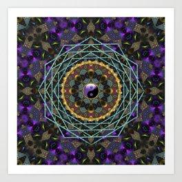 Purple Yin Yang Sacred Geometry Fractals Art Print