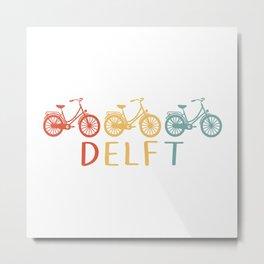 Delft Retro Bicycle Souvenir TShirt Dutch Flag Shirt Netherlands Cycling Gift Idea  Metal Print