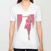 moschino V-neck T-shirts featuring MOSCHINO RUNWAY BARBIE GIRL by RickyRicardo787