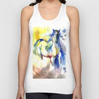 mustang Tank Tops featuring Watercolor Mustang by Madkazer Designs