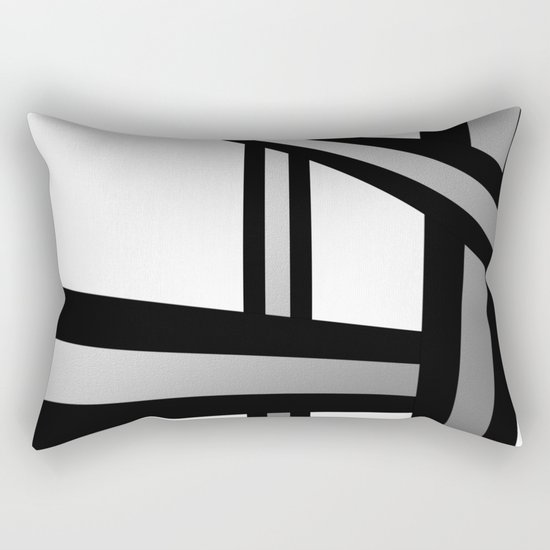 Bold Metallic Beams - Minimalistic, abstract black and white artwork Rectangular Pillow