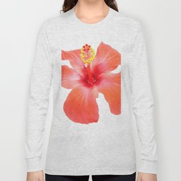 Red Hibiscus Vector Isolated Long Sleeve T-shirt
