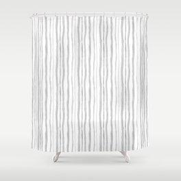 Grey Watercolour Stripes Shower Curtain