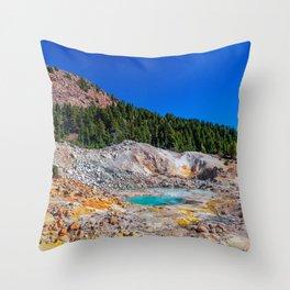 Mount Lassen Bumpass Hell Geothermal Site Throw Pillow