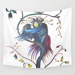 Gamaun Halloween Prophetic Raven Vector Wall Tapestry