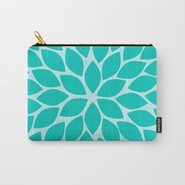 Turquoise Chrysanthemum Carry-All Pouch