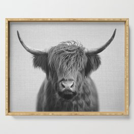 Highland Cow - Black & White Serving Tray