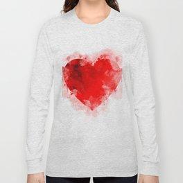 Heart Watercolor Illustration Long Sleeve T-shirt