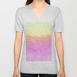 Abstract pink coral sunshine yellow watercolor brushstrokes Unisex V-Neck