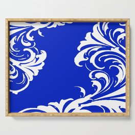 Damask Blue and White Serving Tray