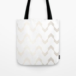Simply Deconstructed Chevron White Gold Sands on White Tote Bag