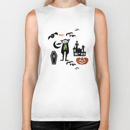 Cute Dracula and friends white #halloween Biker Tank