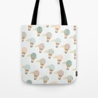 baloon Tote Bags featuring baloon collage pattern  by flying bathtub