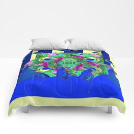 BLUE PEACOCKS & MORNING GLORIES PARALLEL YELLOW PATTERNED ART Comforters
