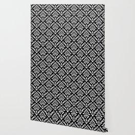 Damask Baroque Repeat Pattern White on Black Wallpaper