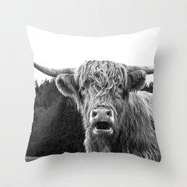 Highland Cow Black & White #1 #wall #art #society6 Throw Pillow