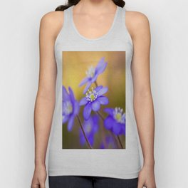 Spring Wildflowers, Beautiful Hepatica in the forest on a sunny and colorful background Unisex Tank Top