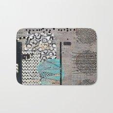 Grey Teal Abstract Art  Bath Mat