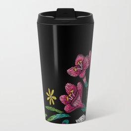 Embroidered Flowers on Black Corner 02 Travel Mug