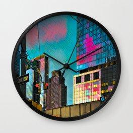 NYC Skyline at Sunset Wall Clock