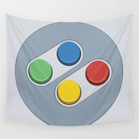 nintendo Wall Tapestries featuring Super Nintendo - Buttons by dudsbessa