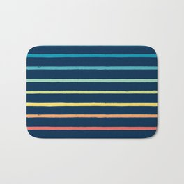 Blue Festival Rainbow Stripe Bath Mat