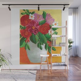 Bright Flowers in Vase Gouache Painting - Pink and Yellow Palette Wall Mural