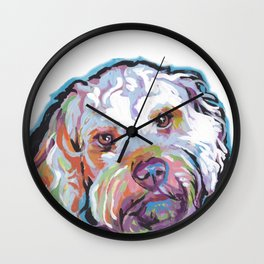 COCKAPOO Fun Dog Portrait bright colorful Pop Art Painting by LEA Wall Clock