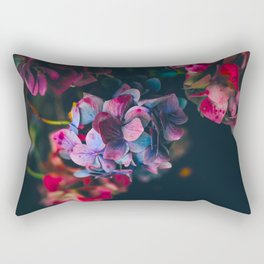 Beautiful Purple Blue Summer Hydrangea Dark Green Sensual Leaves Rectangular Pillow