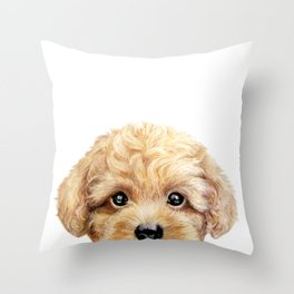 Toy poodle Dog illustration original painting print Throw Pillow