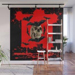 BAT INFESTED HAUNTED SKULL ON BLEEDING RED ON RED  ART Wall Mural