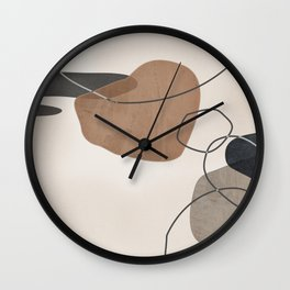 Linkedin Abstract in Taupe, Cinnamon and Charcoal Grey Wall Clock