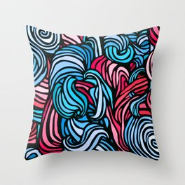 Swirl Design -- Pink & Blue Throw Pillow