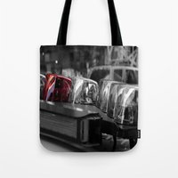 police Tote Bags featuring Police by Michael Andersen