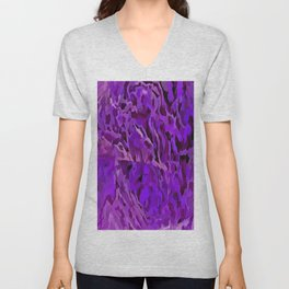 Distressed Violet Tree Bark Abstract Unisex V-Neck