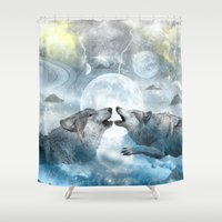wolves Shower Curtains featuring Wolves by haroulita