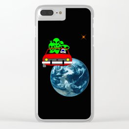 Ride to Mars selfie Clear iPhone Case